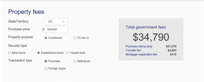 Home Loan Fees Calculator