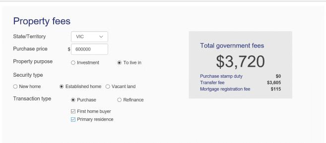 Home Loan Fees Calculator 2