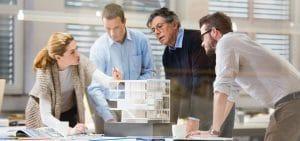 Architect explaining project plan to client