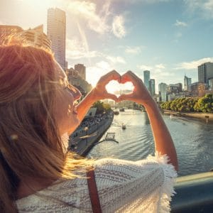 Young woman loving Melbourne, Australia