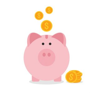 Piggy bank flat design, saving money concept