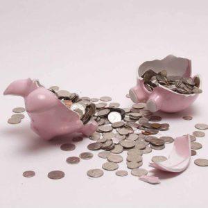 Piggy Bank Broke Bank Money Lose Saving