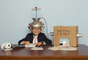 Young Businessman Makes Money With Homemade Money Machine 300x205