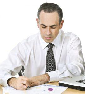 Serious Man handling finances